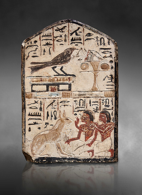 """Ancient Egyptian stele didicated to the swallow and cat by Nebra, limestone, New Kingdom, 19th Dynasty, (1292-1190 BC), Deir el-Medina, Egyptian Museum, Turin. Grey background. Drovetti Cat No 1591.<br /> <br /> In the top register of this votive stele a swallow  (Hirundinidae) is shown perched on top of a shrine. An offering table is placed in front of it on the right side. The bird is called """"the good swallow"""". In the lower register Nakhamun and Khay, Nebre's two sons, kneel in adoration in front of a large cat. They both hold a bouquet in their right hand, the left hand is raised in adoration before the good cat"""" (Houlihan,1996,87). The swallow and the cat both represent two minor deities, Menet and Tamit, who are  closely connected with the region of the Theban necropolis. It is unusual that this stele has been dedicated by Nebre, the royal craftsman, without him being depicted."""