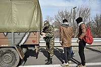 Pictured: A group of migrants have been arrested by Greek army in the Mandra area of Evros, Greece. Tuesday 03 March 2020<br /> Re: Migrants have gathered at the Greek-Turkish border in the Evros area, Greece