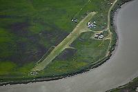 aerial photograph grass landing strip along Petaluma river, Petaluma, Sonoma county, California