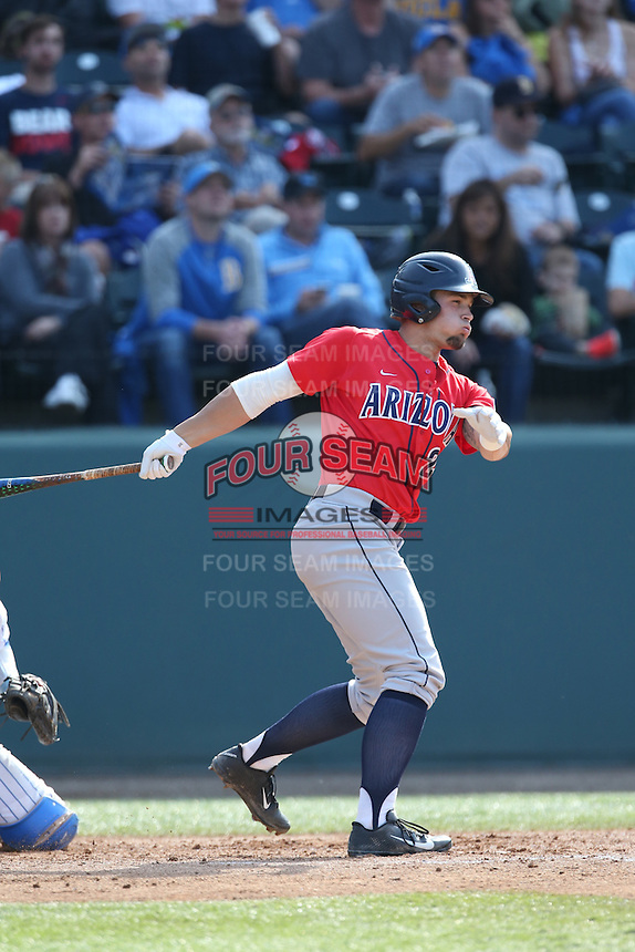 J.J. Matijevic (24) of the Arizona Wildcats bats during a game against the UCLA Bruins at Jackie Robinson Stadium on May 16, 2015 in Los Angeles, California. UCLA defeated Arizona, 6-0. (Larry Goren/Four Seam Images)