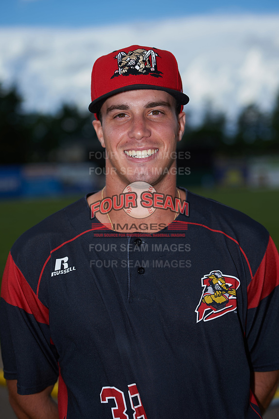 Batavia Muckdogs Zachary Daly (38) poses for a photo before a game against the West Virginia Black Bears on June 26, 2017 at Dwyer Stadium in Batavia, New York.  Batavia defeated West Virginia 1-0 in ten innings.  (Mike Janes/Four Seam Images)