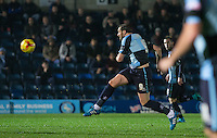 Paul Hayes of Wycombe Wanderers fires a shot at goal during the Sky Bet League 2 match between Wycombe Wanderers and Notts County at Adams Park, High Wycombe, England on 15 December 2015. Photo by Andy Rowland.
