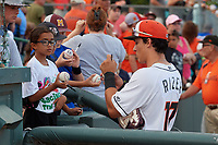 Delmarva Shorebirds Johnny Rizer (17) signs autographs before a South Atlantic League game against the Greensboro Grasshoppers on August 21, 2019 at Arthur W. Perdue Stadium in Salisbury, Maryland.  Delmarva defeated Greensboro 1-0.  (Mike Janes/Four Seam Images)