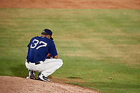 Mobile BayBears relief pitcher Adrian Almeida (37) takes a moment behind the mound during a game against the Chattanooga Lookouts on May 5, 2018 at Hank Aaron Stadium in Mobile, Alabama.  Chattanooga defeated Mobile 11-5.  (Mike Janes/Four Seam Images)