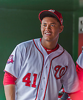 30 August 2015: Washington Nationals pitcher Joe Ross smiles in the dugout during a game against the Miami Marlins at Nationals Park in Washington, DC. The Nationals rallied to defeat the Marlins 7-4 in the third game of their 3-game weekend series. Mandatory Credit: Ed Wolfstein Photo *** RAW (NEF) Image File Available ***