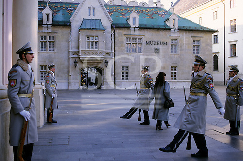 Bratislava, Slovakia; Slovak parliament buildings with guards and museum.