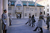 Bratislava, Slovakia; Slovak parliament buildings with guards and museum.