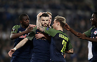 Europa League quarter-final 1st leg <br /> S.S. Lazio - FC Salzburg  Olympic Stadium Rome, April 5, 2018.<br /> Salzburg's Valon Berisha (c) celebrates after scoring with his teammates during the Europa League match between Lazio and Salzburg at Rome's Olympic stadium, April 5, 2018.<br /> UPDATE IMAGES PRESS/Isabella Bonotto