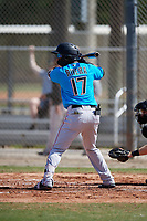 Miami Marlins Marcos Rivera (17) during a Minor League Spring Training Intrasquad game on March 28, 2019 at the Roger Dean Stadium Complex in Jupiter, Florida.  (Mike Janes/Four Seam Images)