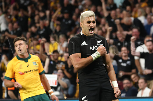 7th November 2020, Brisbane, Australia; Tri Nations International rugby union, Australia versus New Zealand;  Rieko Ioane of The Allblacks celebrates as he scores a try