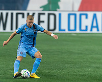 FOXBOROUGH, MA - SEPTEMBER 02: Anton Tinnerholm #3 of New York City FC passes the ball during a game between New York City FC and New England Revolution at Gillette Stadium on September 02, 2020 in Foxborough, Massachusetts.