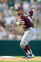 Texas A&M Aggies second baseman Andrew Collazo #6 turns a double play against the Texas Longhorns in NCAA Big XII Conference baseball on May 21, 2011 at Disch Falk Field in Austin, Texas. (Photo by Andrew Woolley / Four Seam Images)