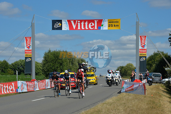 25km to go for Michal Golas (POL) Etixx-Quick Step, Lars Yting Bak (DEN) Lotto-Soudal and Bartosz Huzarski (POL) Bora-Argon 18 during Stage 8 of the 2015 Tour de France running 181.5km from Rennes to Mur de Bretagne, France. 10th July 2015.<br /> Photo: ASO/B.Bade/Newsfile