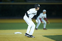 D.J. Poteet (4) of the Wake Forest Demon Deacons takes his lead off of second base against the Florida State Seminoles at David F. Couch Ballpark on March 9, 2018 in  Winston-Salem, North Carolina.  The Seminoles defeated the Demon Deacons 7-3.  (Brian Westerholt/Four Seam Images)
