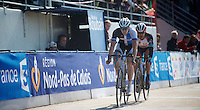 111th Paris-Roubaix 2013..Sep Vanmarcke (BEL) leading Fabian Cancellara (CHE) with 1 lap to go at the Roubaix Vélodrome
