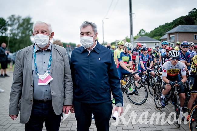 Eddy Merckx is at the start of the inaugural GP Vermarc 2020, which is the very first pro cycling race in Belgium after the covid19 lockdown of Spring 2020 & which was only set up some weeks in advance to accommodate belgian teams by providing racing opportunities asap after the lockdown allowed for racing to restart (but still under strict quarantine / social distancing measures for the public, riders & press)<br /> <br /> Rotselaar (BEL), 5 july 2020<br /> ©kramon