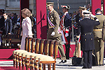01.10.2012. The Spanish Royal Family, King Juan Carlos, Queen Sofia, Prince Felipe, Princess Letizia and Princess Elena attend the imposition of collective Distinguished Cross San Fernando Al Banner Armored Cavalry Regiment ´Alcántara´ No. 10 in the Royal Palace in Madrid, Spain. In the image Queen Sofia and Prince Felipe (Alterphotos/Marta Gonzalez)