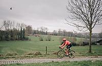 Greg VAN AVERMAET (BEL/CCC) over the Paddestraat cobbles<br /> <br /> 74th Omloop Het Nieuwsblad 2019 <br /> Gent to Ninove (BEL): 200km<br /> <br /> ©kramon