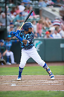 Ogden Raptors third baseman Kenneth Betancourt (9) at bat during a Pioneer League game against the Billings Mustangs at Lindquist Field on August 17, 2018 in Ogden, Utah. The Billings Mustangs defeated the Ogden Raptors by a score of 6-3. (Zachary Lucy/Four Seam Images)