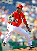 17 August 2008: Washington Nationals' starting pitcher Odalis Perez on the mound against the Colorado Rockies at Nationals Park in Washington, DC. The Rockies defeated the Nationals 7-2, sweeping the 3-game series, and handing the last place Nationals their 10th consecutive loss. ..Mandatory Photo Credit: Ed Wolfstein Photo