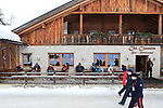 FIS Alpine Ladies Ski World Cup 2021 . Kronplatz, Plan De Corones, Italy on January 26, 2021.  Carabinieri wearing protective masks in front of an open Bar, Restaurant