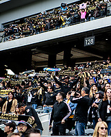LOS ANGELES, CA - MARCH 01: LAFC supporters during a game between Inter Miami CF and Los Angeles FC at Banc of California Stadium on March 01, 2020 in Los Angeles, California.