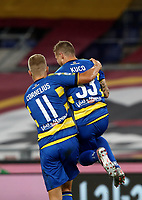 Parma's Juraj Kucka, right, celebrates with his teammate Andreas Cornelius after scoring on a penalty kick during the Italian Serie A football match between Roma and Parma at Rome's Olympic stadium, July 8, 2020.<br /> UPDATE IMAGES PRESS/Isabella Bonotto