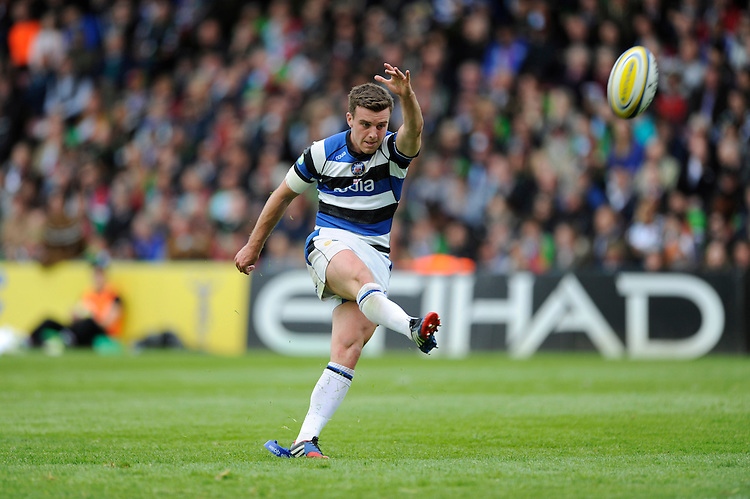 George Ford of Bath Rugby converts his own try during the Aviva Premiership match between Harlequins and Bath Rugby at The Twickenham Stoop on Saturday 10th May 2014 (Photo by Rob Munro)