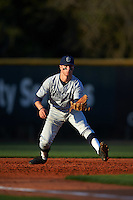 Georgetown Hoyas third baseman John Simourian (1) during a game against the Chicago State Cougars on March 3, 2017 at North Charlotte Regional Park in Port Charlotte, Florida.  Georgetown defeated Chicago State 11-0.  (Mike Janes/Four Seam Images)