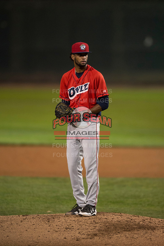 Orem Owlz starting pitcher Cristopher Molina (35) prepares to deliver a pitch during a Pioneer League game against the Helena Brewers at Kindrick Legion Field on August 21, 2018 in Helena, Montana. The Orem Owlz defeated the Helena Brewers by a score of 6-0. (Zachary Lucy/Four Seam Images)