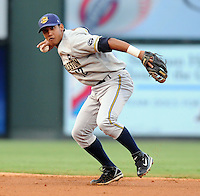 Infielder Emerson Landoni (12) of the Charleston RiverDogs in a game against the Greenville Drive on Aug. 24, 2010, at Fluor Field at the West End in Greenville, S.C. Photo by: Tom Priddy/Four Seam Images