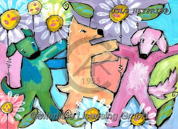 Nettie,REALISTIC ANIMALS, REALISTISCHE TIERE, ANIMALES REALISTICOS, paintings+++++ThreeDancingDogs,USLGNETPRI81,#A#, EVERYDAY pop art