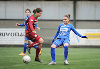 20160206 - Zulte , BELGIUM : Zulte Waregem's Athina Vercaemer (L) and Genk's Sharon Lemmens (R) pictured during the soccer match between the women teams of Zulte Waregem and Ladies Genk , in the quartel final matchday of the Belgian CUP - Beker van Belgie voor Vrouwen competition on Saturday 6th February 2016 in Zulte .  PHOTO SPORTPIX.BE DIRK VUYLSTEKE