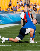 Pitt offensive lineman Brian O'Neill warms up. The North Carolina Wolfpack defeated the Pitt Panthers 35-17 at Heinz Field, Pittsburgh, PA on October 14, 2017.