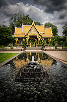 The Thai Pavilion and fountain at Olbricht Botanical Gardens in Madison, Wisconsin.