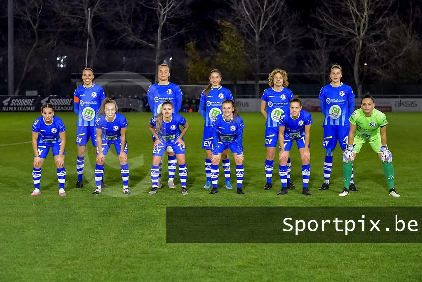 Team picture KAA Gent ( defender Silke Vanwynsberghe (21) , forward Lobke Loonen (19) , defender Fran Meersman (5) , midfielder Fleur Van Daele (8) , defender Heleen Jacques (4) and defender Rkia Mazrouai (2) , forward Jasmien Mathys (12) , defender Lindsey Van Belle (14) , midfielder Emma Van Britsom (6) , midfielder Chloe Vande Velde (10) , goalkeeper Nicky Evrard (1) ) during a female soccer game between  AA Gent Ladies and Standard Femina de Liege on the 8 th matchday of the 2020 - 2021 season of Belgian Scooore Womens Super League , friday 20 th of November 2020  in Oostakker , Belgium . PHOTO SPORTPIX.BE | SPP | STIJN AUDOOREN