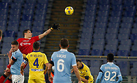 Hellas Verona s goalkeeper Marco Silvestri, top left, saves the ball during the Serie A soccer match between Lazio and Hellas Verona at Rome's Olympic Stadium, December 12, 2020.<br /> UPDATE IMAGES PRESS/Riccardo De Luca