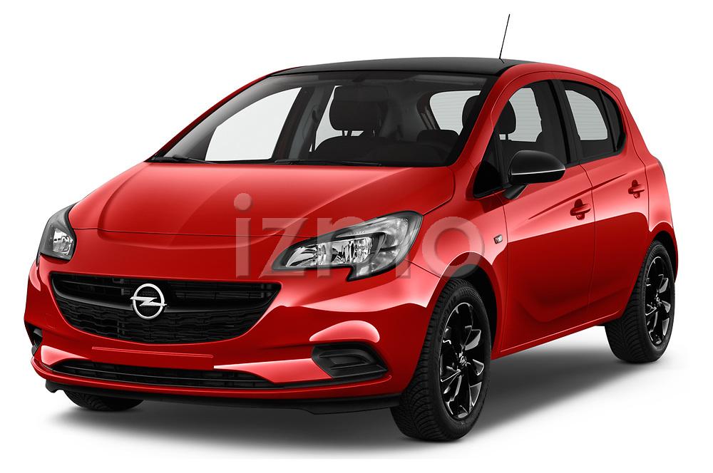 2018 Opel Corsa Black-Edition 5 Door Hatchback Angular Front stock photos of front three quarter view