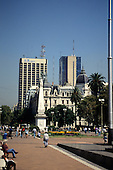 Buenos Aires, Argentina. Plaza 25 de Mayo with the Independence memorial, 1810.