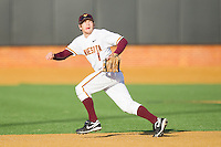 Shortstop AJ Pettersen #1 of the Minnesota Golden Gophers tracks a fly ball against the Towson Tigers at Gene Hooks Field on February 26, 2011 in Winston-Salem, North Carolina.  The Gophers defeated the Tigers 6-4.  Photo by Brian Westerholt / Sports On Film