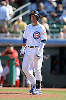 Mesa Solar Sox outfielder Albert Almora (8), of the Chicago Cubs organization, during an Arizona Fall League game against the Scottsdale Scorpions on October 15, 2013 at HoHoKam Park in Mesa, Arizona.  Mesa defeated Scottsdale 7-4.  (Mike Janes/Four Seam Images)