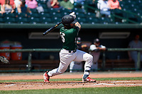 Great Lakes Loons Jacob Amaya (15) at bat during a Midwest League game against the Wisconsin Timber Rattlers at Dow Diamond on May 4, 2019 in Midland, Michigan. Great Lakes defeated Wisconsin 5-1. (Zachary Lucy/Four Seam Images)