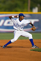 Second baseman Victor Soto #35 of the Burlington Royals makes a throw to first base at Burlington Athletic Park July 19, 2009 in Burlington, North Carolina. (Photo by Brian Westerholt / Four Seam Images)