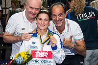 BERTOCCHI Elena ITA Gold Medal<br /> Oscar Bertone ITA Coach Team Italy<br /> Dario Scola ITA Coach Team Italy<br /> 1m Synchronised Women Final<br /> LEN European Diving Championships 2017<br /> Sport Center LIKO, Kiev UKR<br /> Jun 12 - 18, 2017<br /> Day06 17-06-2017<br /> Photo © Giorgio Scala/Deepbluemedia/Insidefoto