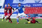 St Johnstone v St Mirren…16.01.21   McDiarmid Park     SPFL<br />Chris Kane jumps a tackle from Conor McCarthy<br />Picture by Graeme Hart.<br />Copyright Perthshire Picture Agency<br />Tel: 01738 623350  Mobile: 07990 594431