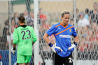 Philadelphia Independence goalkeeper Nicole Barnhart (23) and Western New York Flash goalkeeper Ashlyn Harris (24) exchange places during the penalty kick shootout. The Western New York Flash defeated the Philadelphia Independence 5-4 in a penalty kick shootout after playing to a 1-1 tie during the Women's Professional Soccer (WPS) Championship presented by Citi at Sahlen's Stadium in Rochester NY, on August 27, 2011.