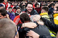 River Plate fans celebrating the championship with River Plate president Rodolfo D'Onofrio during  Commebol Final Match between River Plate and Boca Juniors at Santiago Bernabeu Stadium in Madrid, Spain. December 09, 2018. (ALTERPHOTOS/Borja B.Hojas) /NortePhoto.com