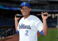 Tulsa Drillers shortstop Cristhian Adames (2) poses for a photo before a game against the Midland RockHounds on May 31, 2014 at ONEOK Field in Tulsa, Oklahoma.  Tulsa defeated Midland 5-3.  (Mike Janes/Four Seam Images)