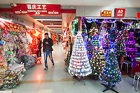 November 27, 2015, Yiwu China - Displays of Christmas decorations in the Festival Arts section of Arts of Crafts inside the Yiwu International Trade Market. Yiwu International Trade Market is the world's largest whole sale market for small commodities. Christmas decorations are available for bulk purchase all the year round.Photo by Dave Tacon / Sinopix