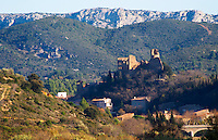 The cathare hilltop chateau in Durban-Corbieres. Fitou. Languedoc. The ruins of a chateau fortress. France. Europe.